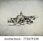 sketch of small lighthouse   Shutterstock . vector #772679158