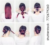 Small photo of Hairstyles tutorial step by step. Woman showing how to make beautiful hair bun for every day. Back view of amazing female with red hair