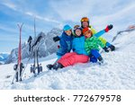 ski  winter  snow  skiers  sun... | Shutterstock . vector #772679578