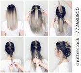 Small photo of Before and after hairstyle tutorial. Hairdresser making amazing hairstyles step by step. DIY. Fishbone hair procedure. How to make. Balayage and ombre hairstyle.