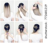 Small photo of Simple hairstyle volume plait on straight or curly hair. Hairstyle tutorial for long or short curly hair. Hairstyle for party tutorial step by step. Hair tutorial. Mermaid braid