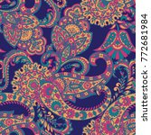 paisley vector seamless pattern.... | Shutterstock .eps vector #772681984