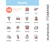 travel   line design icons set. ... | Shutterstock .eps vector #772683460