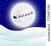 reindeer in harness with sleigh ... | Shutterstock . vector #772687150