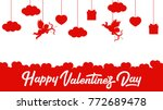 valentines day poster. red on... | Shutterstock .eps vector #772689478
