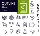 set of outline icons of team. ... | Shutterstock .eps vector #772689748