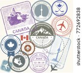 canada travel stamps set   ...