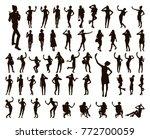 girl black silhouettes taking... | Shutterstock .eps vector #772700059