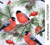 winter holiday seamless pattern ... | Shutterstock .eps vector #772703989
