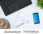 high angle shot of items on a... | Shutterstock . vector #772704514