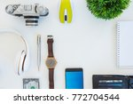 high angle shot of items on a... | Shutterstock . vector #772704544