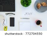 high angle shot of items on a... | Shutterstock . vector #772704550
