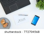 high angle shot of items on a... | Shutterstock . vector #772704568