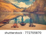 three women are engaged in... | Shutterstock . vector #772705870