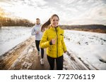 beautiful happy active runner... | Shutterstock . vector #772706119