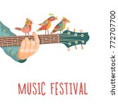 music festival. guitar with... | Shutterstock .eps vector #772707700