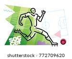 soccer player is running. flat... | Shutterstock .eps vector #772709620