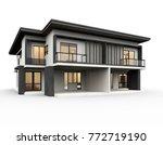 modern house 3d rendering...   Shutterstock . vector #772719190