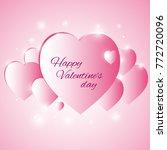 valentine's day. pink hearts.... | Shutterstock .eps vector #772720096