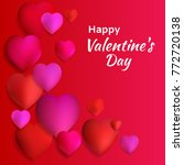 valentine's day. red hearts.... | Shutterstock .eps vector #772720138