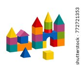 bright colorful wooden blocks... | Shutterstock .eps vector #772721353