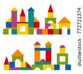 bright colorful wooden blocks... | Shutterstock .eps vector #772721374