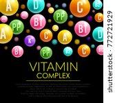 vitamin pill complex 3d poster. ... | Shutterstock .eps vector #772721929
