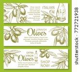olive oil sketch banner of...   Shutterstock .eps vector #772721938