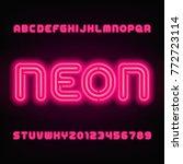 neon tube alphabet font. red... | Shutterstock .eps vector #772723114
