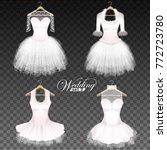 wedding dresses on a hanger on... | Shutterstock .eps vector #772723780