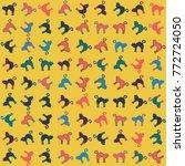 halloween vector pattern with... | Shutterstock .eps vector #772724050