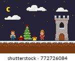 pixel art 8 bit game scene. new ... | Shutterstock .eps vector #772726084
