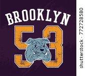 bulldog vintage denim print for ... | Shutterstock .eps vector #772728580