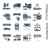set of black icons freight... | Shutterstock .eps vector #772739314