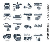 set of black icons freight... | Shutterstock .eps vector #772739800