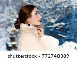 luxurious woman in a white mink ... | Shutterstock . vector #772748389