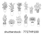 set of house indoor plant line... | Shutterstock .eps vector #772749100
