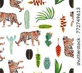 exotic animal tiger green... | Shutterstock .eps vector #772749613
