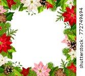 vector christmas frame with fir ... | Shutterstock .eps vector #772749694