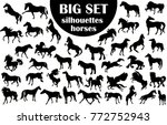 Stock vector a large collection of horse silhouettes 772752943