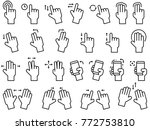 hand gestures line icon set for ... | Shutterstock .eps vector #772753810