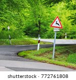 traffic in forest road with... | Shutterstock . vector #772761808