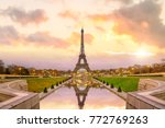 eiffel tower at sunrise from... | Shutterstock . vector #772769263