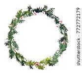wreath of christmas tree... | Shutterstock . vector #772772179