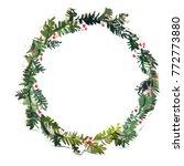 wreath of christmas tree... | Shutterstock . vector #772773880