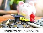 money saving pile on table for...   Shutterstock . vector #772777276