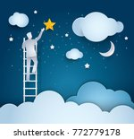 businessman climbing ladder to... | Shutterstock .eps vector #772779178