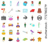 interview icons set. cartoon... | Shutterstock .eps vector #772780279