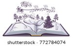 open book tale about christmas. ... | Shutterstock .eps vector #772784074