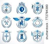 set of vector vintage emblems... | Shutterstock .eps vector #772784380